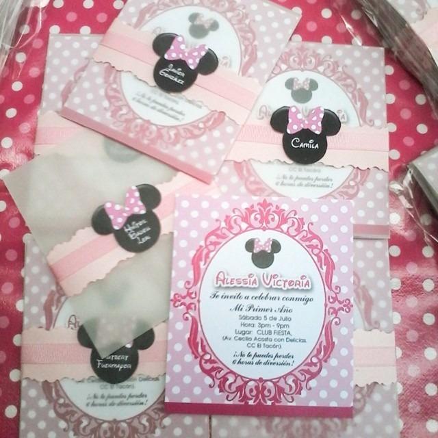 Minnie Mouse Pink Tarjeta De Invitación Personalizada