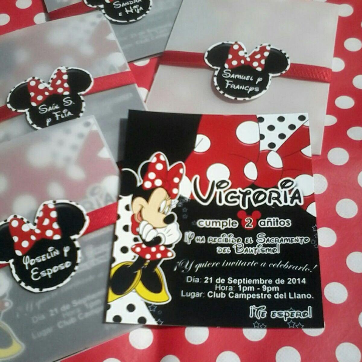Minnie Mouse Roja Chic Tarjeta De Invitación Personalizada