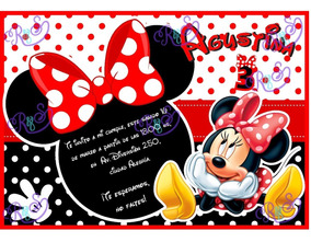 Minnie Mouse Tarjeta Invitacion Cumpleaños Digital Imprimir