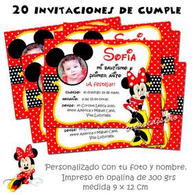 Minnie Roja Rosa Fucsia 20 Invitaciones De Cumpleaños Foto