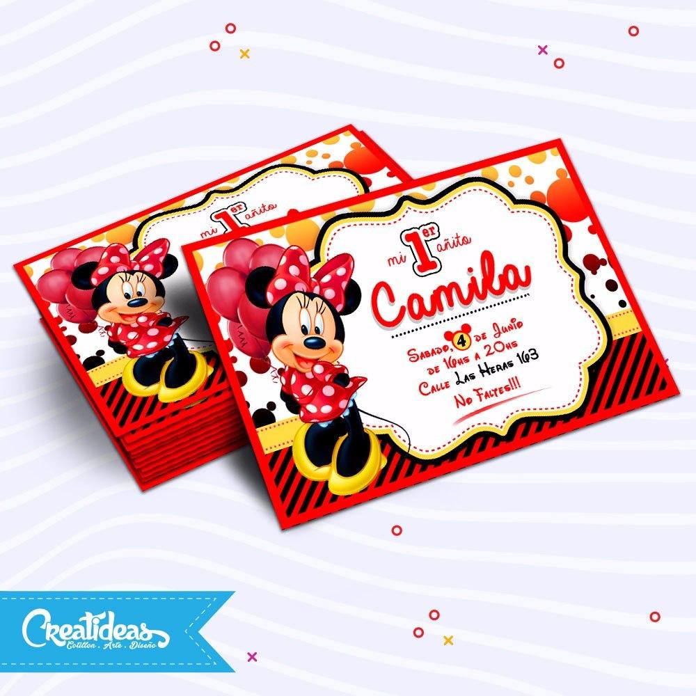 Minnie Roja Tarjetas Invitaciones Infantiles Personalizadas