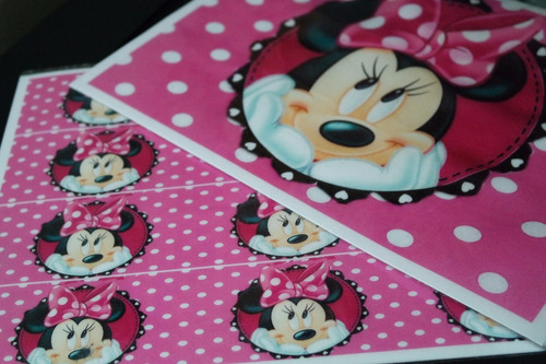 minnie rosa disney papel arroz a4 e faixas para bolo md01
