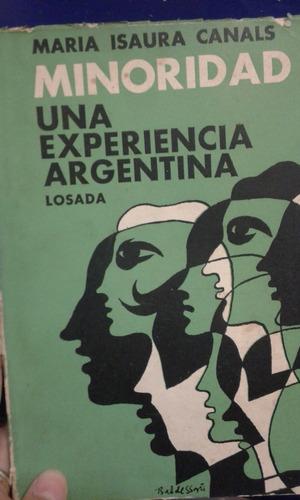 minoridad una experiencia argentina. maria isaura canals