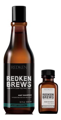 mint shampoo vigorizante + aceite barba redken brews men