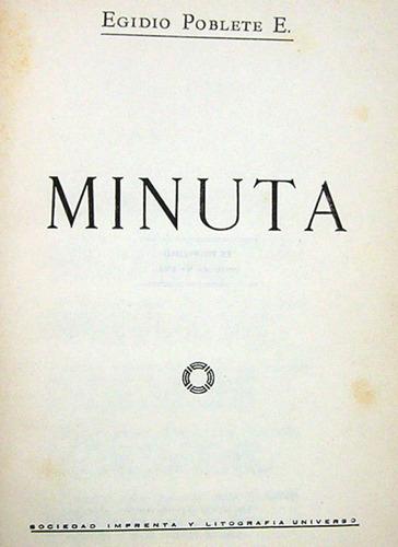 minuta egidio poblete e. con dedicatoria y autografiado