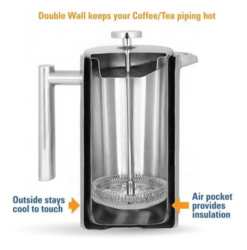 mira 20 oz stainless steel french press coffee maker |
