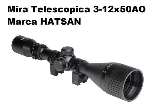 mira telescopica 3-12x50ao marca hatsan reticula duplex incluye anillos 11mm (ha90502)