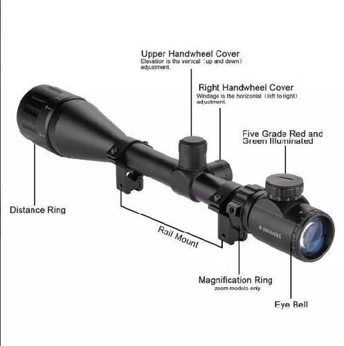 mira telescópica mil dot 6-24x50 ir retículo iluminado snip