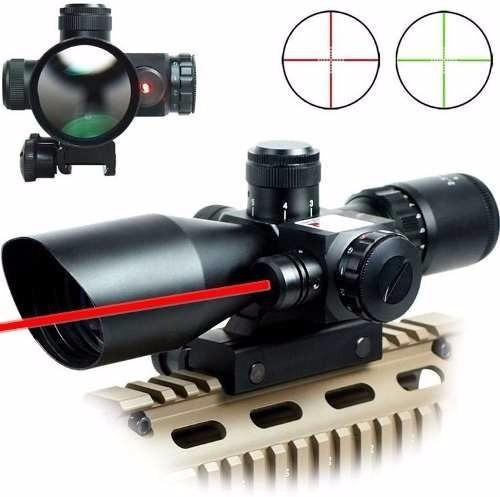 mira telescópica + puntero o mira laser +reticula iluminada