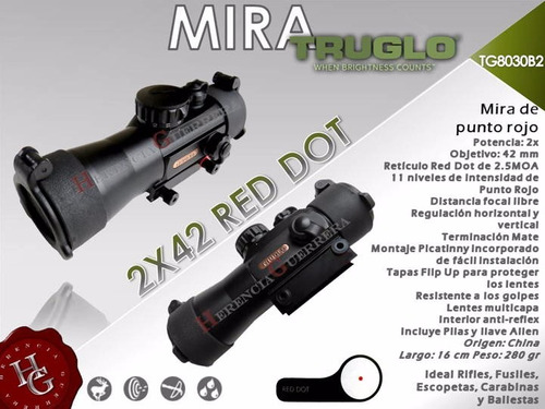 mira truglo 2x42 red dot punto rojo rifle escopeta carabina