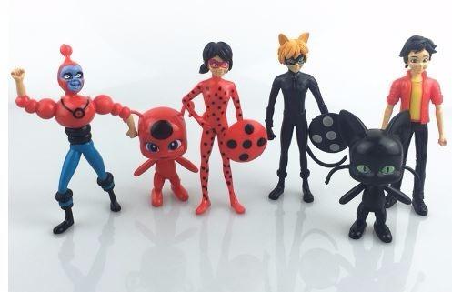miraculous - ladybug - cat noir: set 6 figuras 12 cm