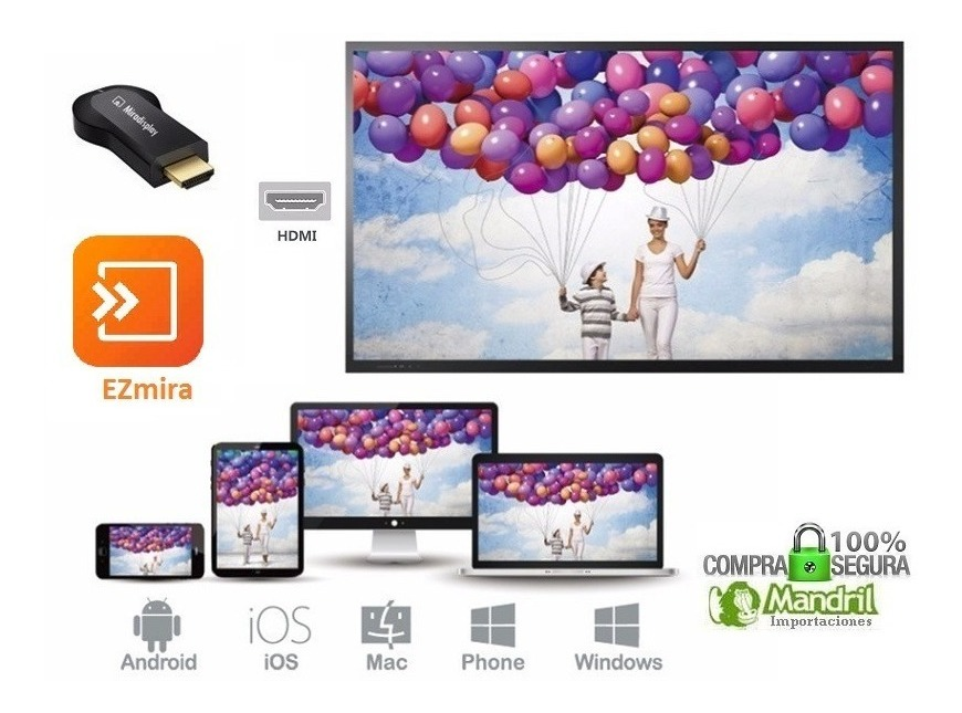 Miradisplay Miracast Ezmira Tv Hdmi Wifi Android Windows Pc