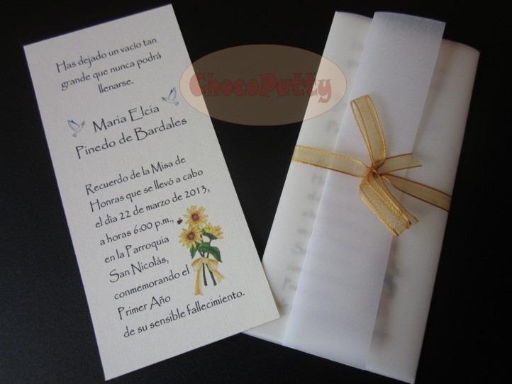 Misa De Honras Invitaciones O Estampas