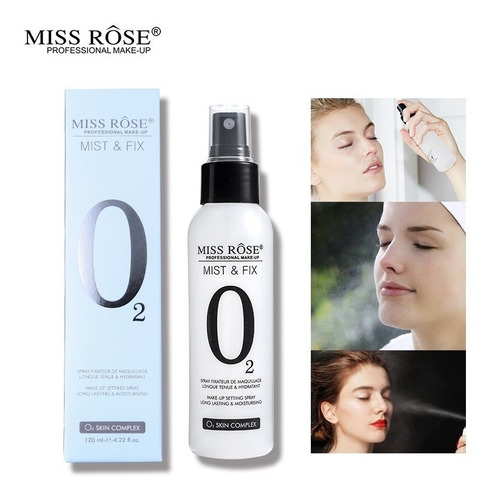 miss rôse mist n fix o2 spray fixador de maquiagem