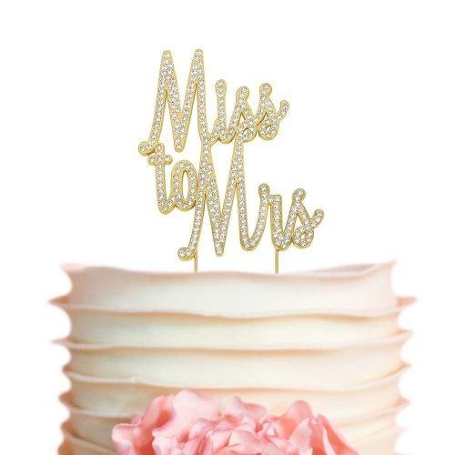 Miss To Mrs Gold Rhine Cake Topper L Wedding Bridal Sho