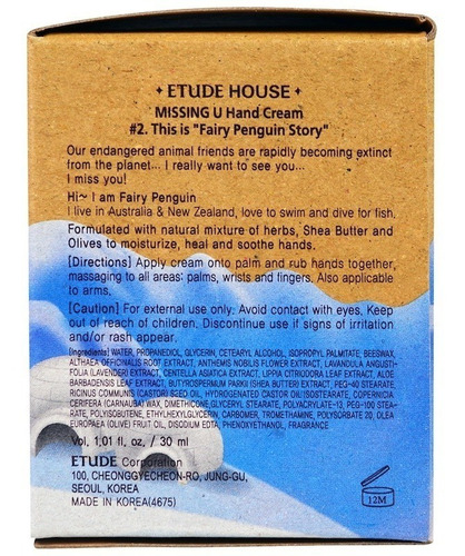 missing u etude house crema de manos penguin