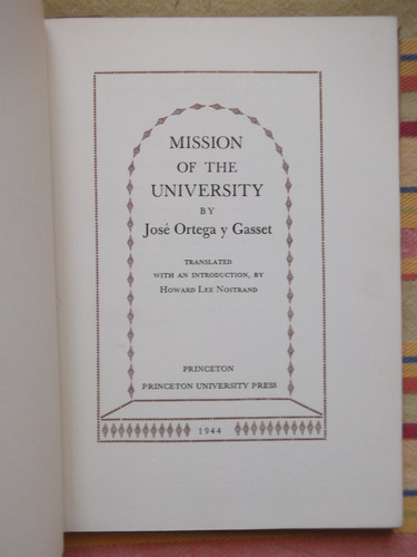mission of the university ortega y gasset en inglés 1944
