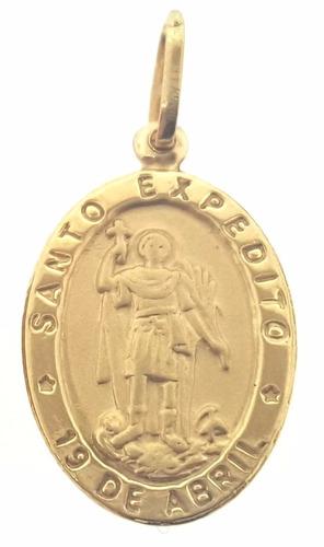missxl joias pingente santo expedito  em ouro 18k 1.45gramas