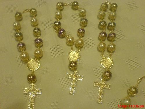 misterio de perla grande y mediano de san benito con medalla