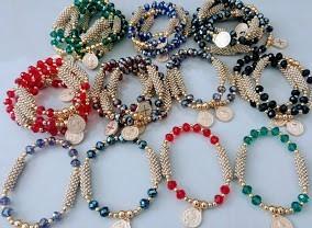 misterios cristal y perla  pulseras recuerdos bautizos bodas