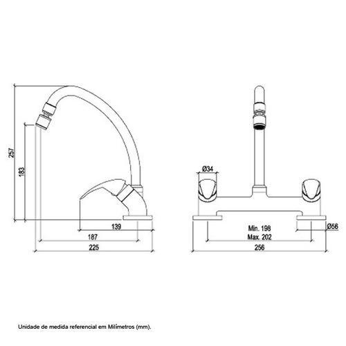 misturador cozinha de mesa - bica móvel loreneasy 1256 c56