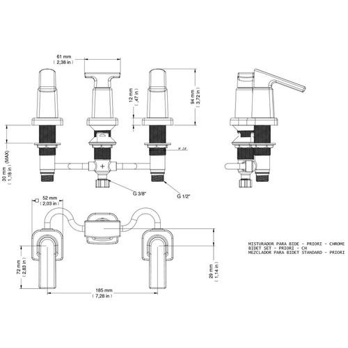 misturador para bidê standard docol priori 1/2'' ge