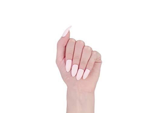 misud 24 uñas postizas de almendra color blanco y rosa