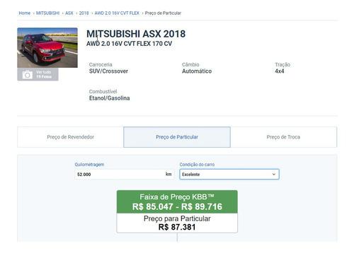 mitsubishi  asx  2018  2.0 4wd top flex cvt 5p (só venda)
