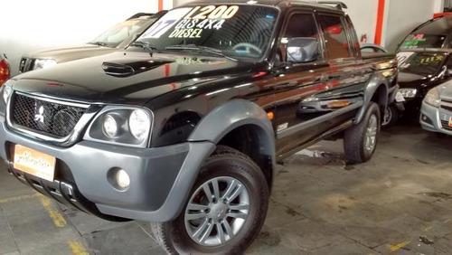 mitsubishi l200 gls 2.5 4x4 completo preto 2007 diesel