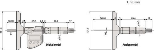 mitutoyo vernier tipo micrometro 11 varillas de profundidad