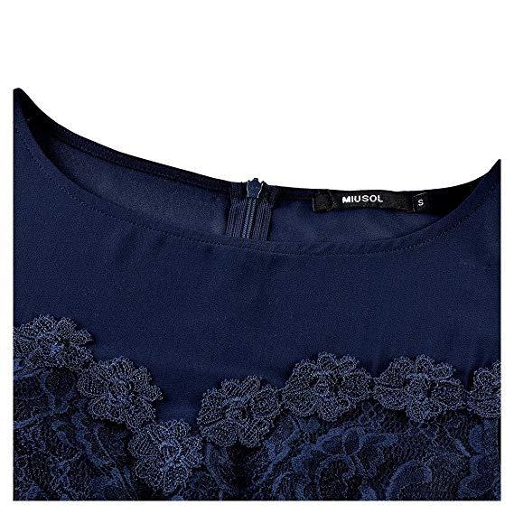 Miusol Vestido Sexy Floral Lace Bosa Maxi Dress Azul S