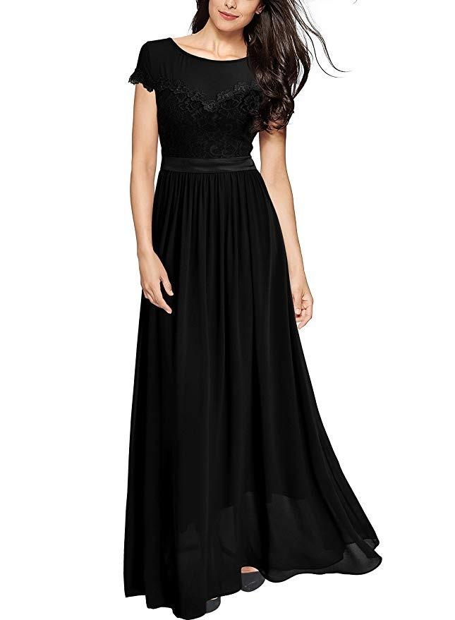 Miusol Vestido Sexy Floral Lace Bosa Maxi Dress Negro S