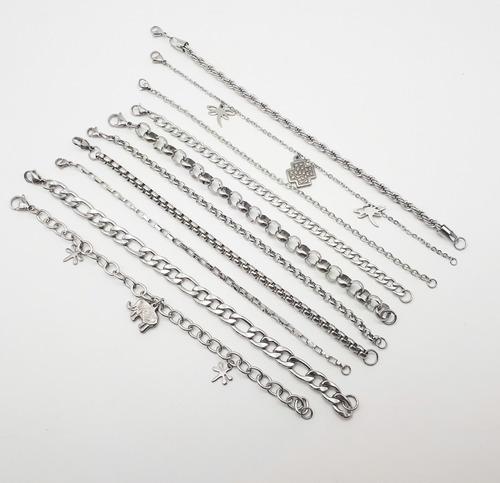 mix 10 hermosas pulseras acero quirurgico 316l por mayor