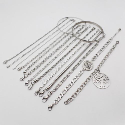 mix 15 hermosas pulseras acero quirurgico 316l por mayor