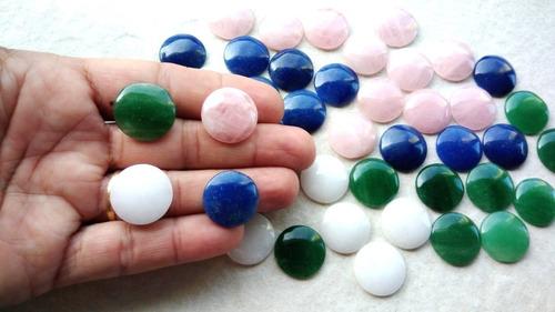 mix 50 pedras preciosas naturais lapidadas redondas cabochão