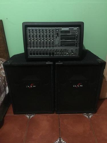 mixer amplificada samsom parlantes das y micorofonos samsom