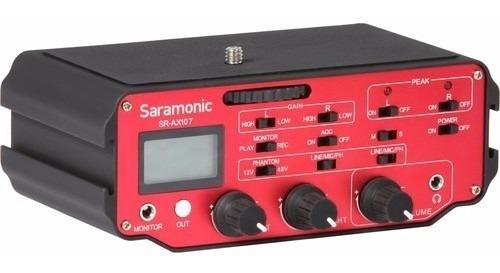 mixer audio mezclador adaptador p/ microfono saramonic ax107