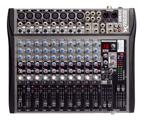 mixer consola 12 canales 16 efect sound xtreme sxm512 esdj