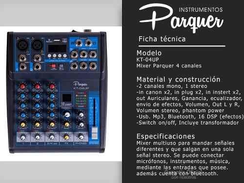 mixer consola 4 canales parquer bluetooth usb efectos mp3