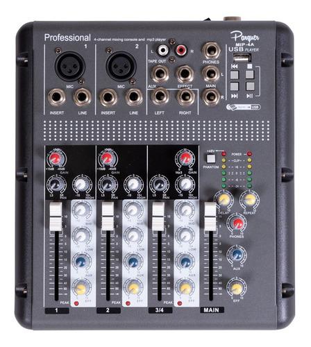 mixer consola 4 canales parquer usb efectos mp3 phantom