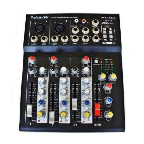 Mixer Dj Acustica Mix-4d Consola De Audio Usb Efectos Sonido