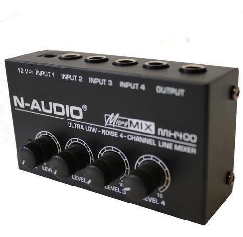 mixer dj n-audio mx400 mini de linea 4 canales procesador