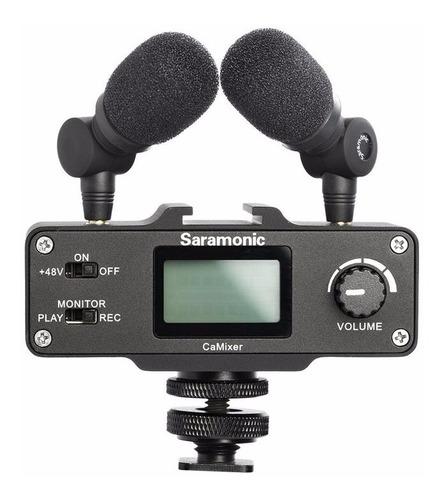mixer mezclador  estereo + 2 microfonos saramonic camixer