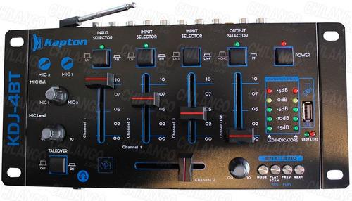 mixer mezcladora 4 canales usb, fm bluetooth