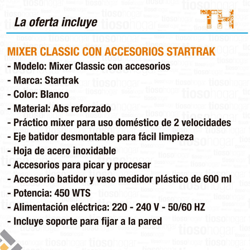 mixer procesador completa accesorio star trak sin interes