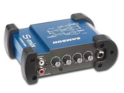mixer samson s-mix 5 canales xlr rca plug stereo mini envios
