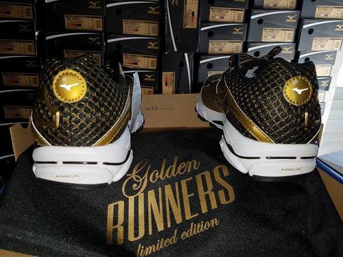 mizuno wave ultima 7 golden runners lançamento + brinde