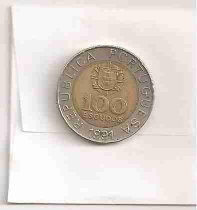 ml-0775 - moeda de portugal - 100 escudos - 1991