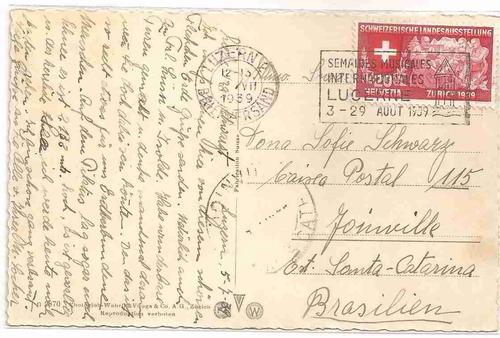 ml-0897 cartão postal lucerne - suiça - 1939