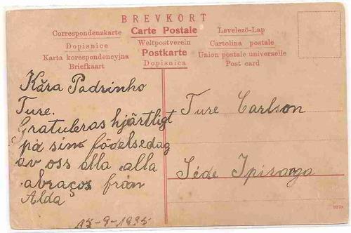 ml-1031 cartão postal antigo - suécia - 1935
